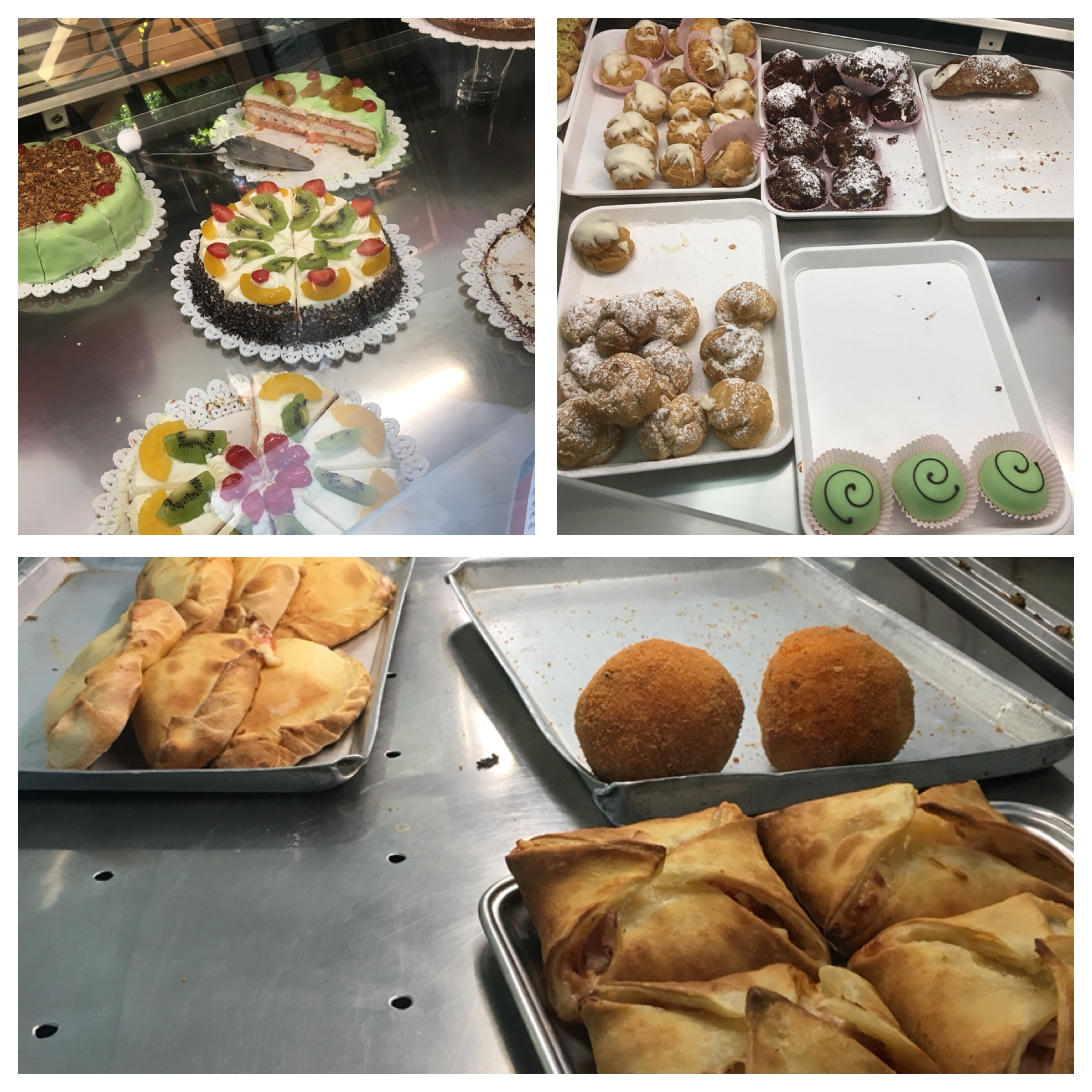 Cassate, small pastry, arancini and calzoni. Caltagirone