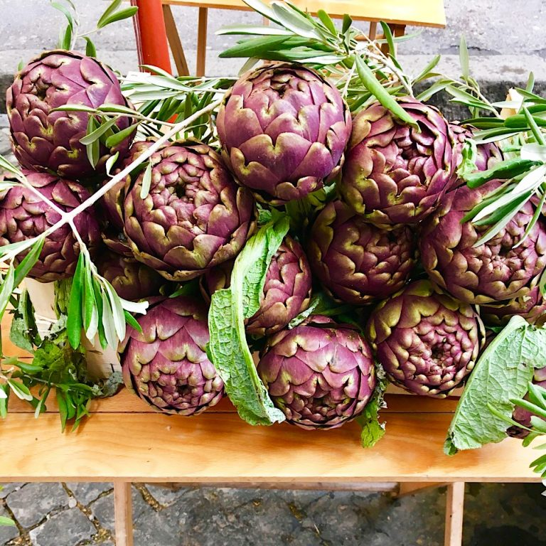 Artichokes outside a restaurant